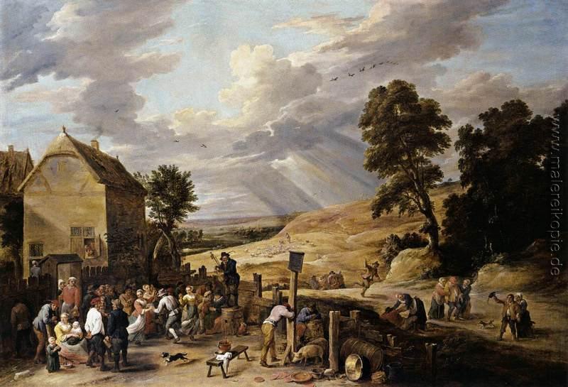 Tanzende Bauern Vor Einem Gasthaus Di David Teniers The