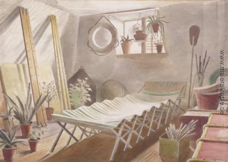 Das Dachgeschoss Schlafzimmer di Eric Ravilious von Eric ...
