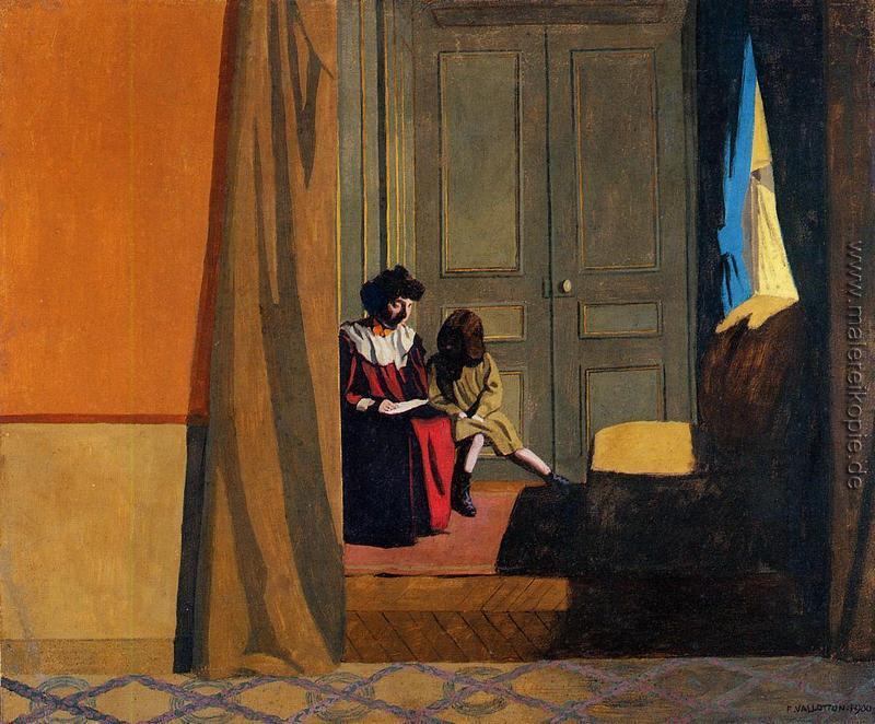 Woman Reading ein kleines Mädchen di Felix Vallotton von ...