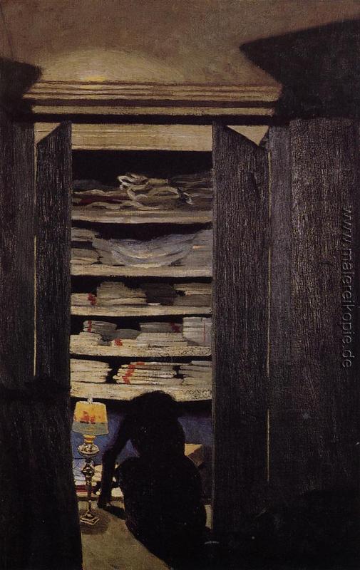 Frau auf der Suche durch ein Schrank di Felix Vallotton von ...