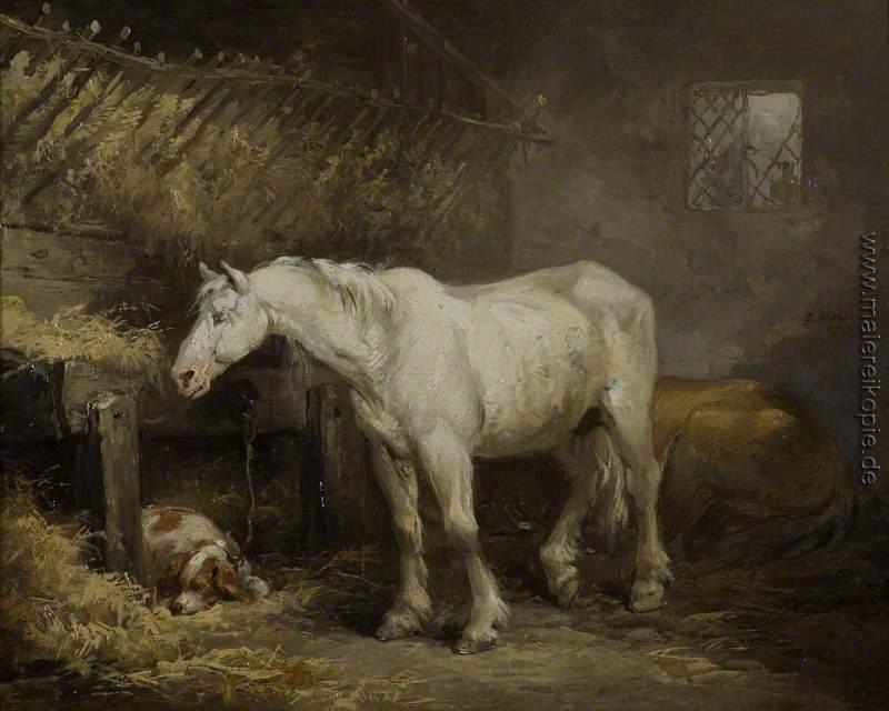 pferd und hund in einem stall di george morland von george