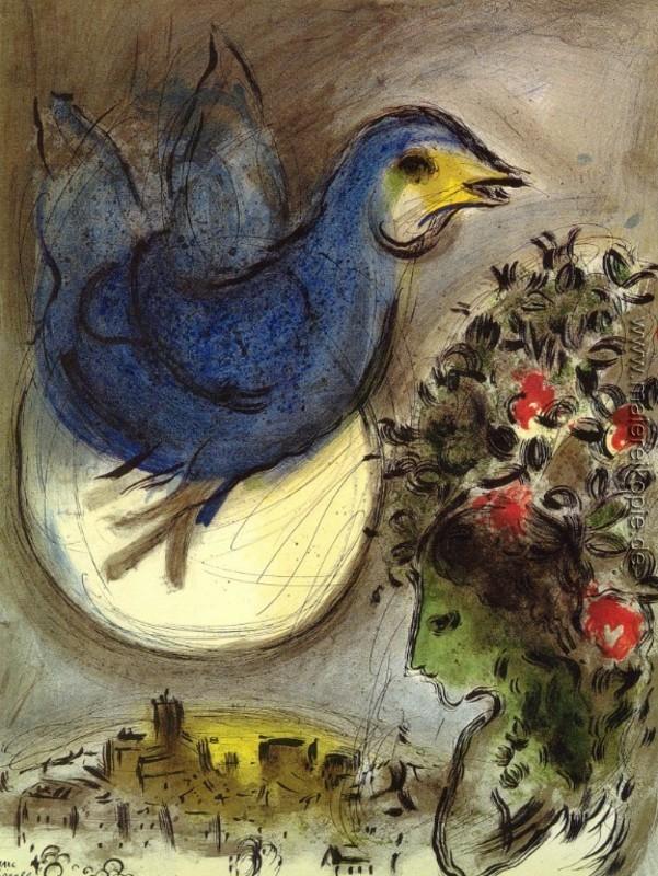 Der blaue Vogel di Marc Chagall von Marc Chagall - Ölgemälde ...