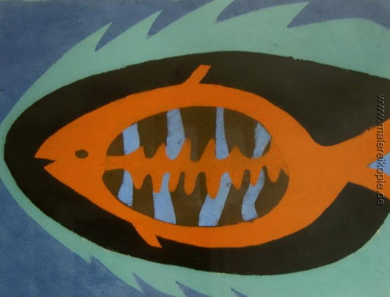 Der Fisch di Vasile Dobrian von Vasile Dobrian - Ölgemälde Reproduktion